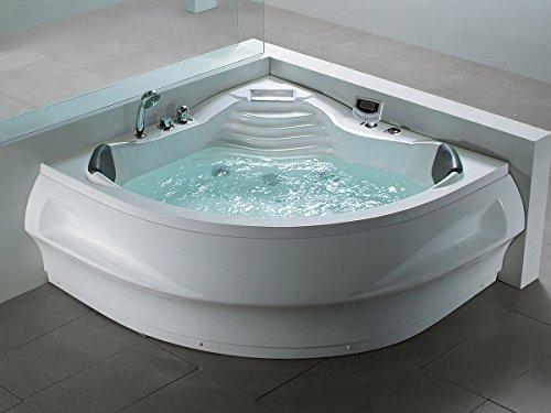 Whirlpool Badewanne St. Tropez mit 14 Massage Düsen + Heizung + Ozon Desinfektion + LED Unterwasser Beleuchtung / Licht + Wasserfall + Radio – Sprudelbad Hot Tub indoor / innen günstig - 2
