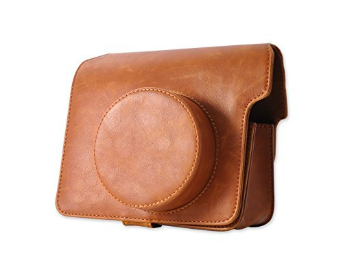 EUSales Retro PU Leder Kameratasche Ledertasche Schutztasche Schutzhülle Kamerahülle Gehäuse Taschen mit Schultergurt für Fujifilm Instax WIDE 300 Kamera - Braun