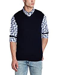 Peter England Mens Sweater (PSW51708099_DarkBlueSolid_X-Large)