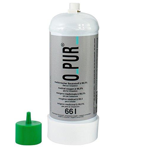 O PUR medizinischer Sauerstoff Einwegflasche 66 oder 100 Liter mit oder ohne Dauerventil, Ausführung:66 Liter mit Dauerventil