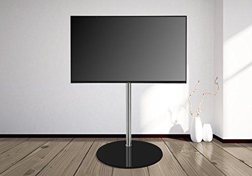 Design Tv Floor Stand By Cavus - Ø 53cm Round Base, Black Glass , 150 Cm Column Brushed Stainless Steel - Max. Vesa 400x400 - 32