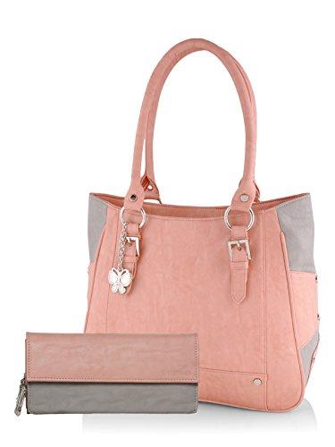Butterflies Women\'s Handbag and Wallet Combos\' (Peach ,Grey) (BNS WB0280)