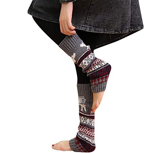 UJUNAOR Weihnachten Frauen Stricken Socken Dicke Kitz Schneeflockensocken Kniebundstrumpf Teppichsocken(Grau,One Size)