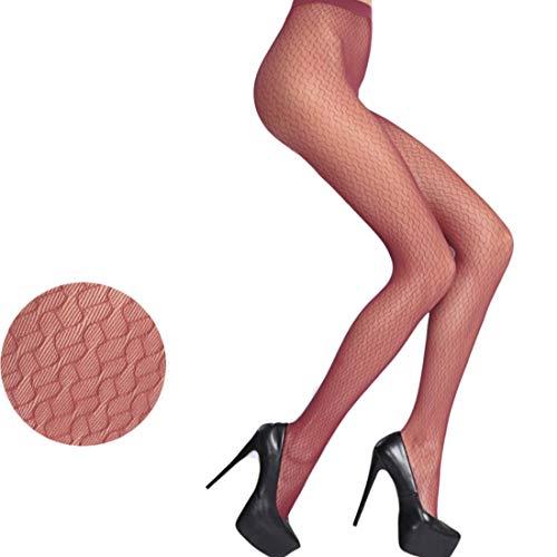 LOVETEA Mode Damen Strumpfhose voll nahtlose 20D Lace Muster Jacquard weben schiere Seide Strumpfhosen Netzstrümpfe (C wine red) (Womens Fisch-netz Dessous)