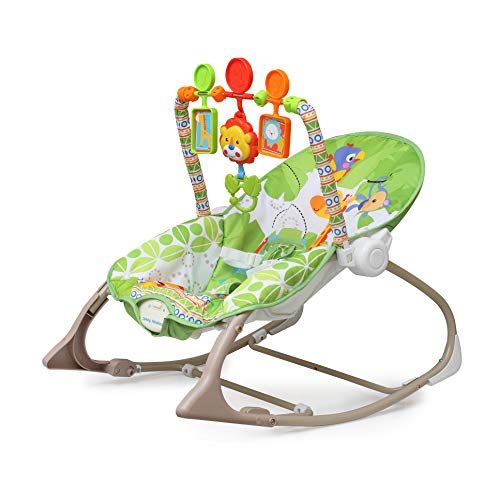 The Flyers Bay Fiddle Diddle Baby Bouncer Cum Rocker with Vibration and Music with 3 Toys, Penguin Blue