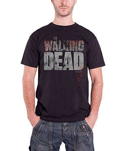 the-walking-dead-splatter-logo-official-herren-nue-schwarz-t-shirt