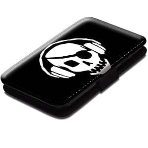 Choses 10006, Crâne, Noir Coque Housse Pochette Cover Coquille en Cuir avec Dessin Coloré et Fermeture Noir Magnetique pour Samsung Galaxy S3 Mini