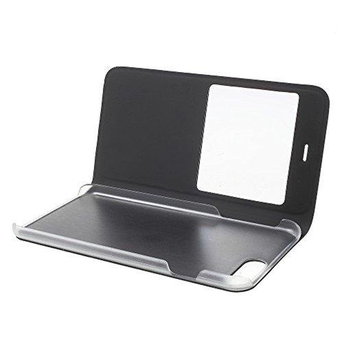 """VComp-Shop® PU-Leder Schutzhülle mit Sichtfenster Flip Folio Leather cover Case für Apple iPhone 7 Plus 5.5"""" - SCHWARZ SCHWARZ + Großer Eingabestift"""
