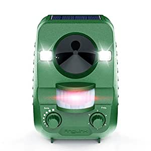 AngLink Cat Repellent, Fox Repellent Ultrasonic Animal Repeller Solar Battery Operated Motion Activated Outdoor Waterproof Electronic Cat Scarer Repeller Deterrent with Ground Stake