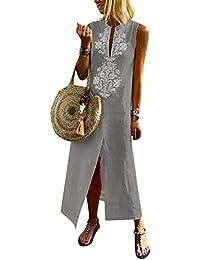 62c39b9b3e8c Vestito Estivo da Donna Abito Sciolto Senza Maniche Retro Lino Cotone Abiti  Lunghi Donna Eleganti Camicetta
