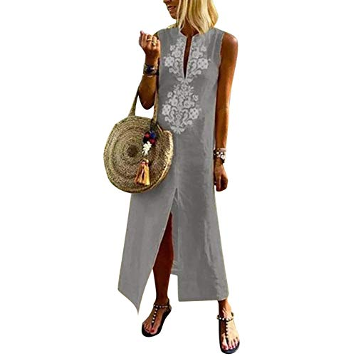 4b91065dd275 Vestito Estivo da Donna Abito Sciolto Senza Maniche Retro Lino Cotone Abiti  Lunghi Donna Eleganti Camicetta