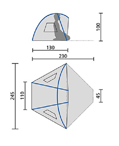 Jack Wolfskin Strandmuschel Beach Shelter III 130 x 245 / 110 x 100 cm, 2,4 kg -
