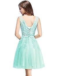 MisShow Damen Prinzessin Tüll V-Ausschnitt Brautjunfernkleid Applique  Ballkleid Abendkleid… b82e48f118