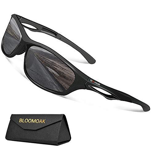 Bloomoak Beste polarisierte Sport-Sonnenbrille Herren & Damen/cooler Schwarz/UV-Schutz/unzerbrechlicher TR90-Rahmen - geeignet für Fahren/Laufen/Radfahren/Angeln/Golf