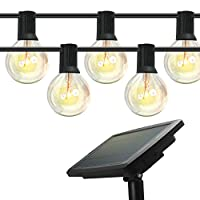 ‏‪Outdoor Solar String Lights, 48ft/15m, 18 Pcs Solid Weatherproof LED Glass Bulbs with 4 Lighting Modes, Solar or USB Charging Powered, Fairy Light for Indoor and Outdoor Decoration. IDEER LIFE‬‏