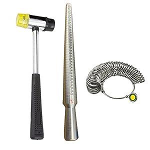 ROSENICE Ring Messgerät mit Ringstock Ringmaß Schonhammer