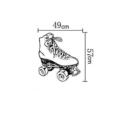 JXweilele Kreative Rollschuhe Skating Schuhe Muster geschnitzt abnehmbare Selbstklebende Wandaufkleber 49x57cm