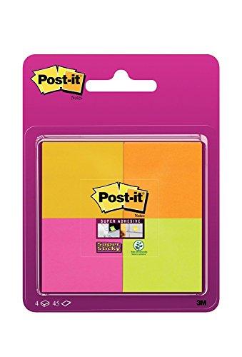 Post-It 6910SSS-YPOG-EU - Pack de 4 blocs de notas adhesivas, 47.6 x 47.6 mm, color azul brillante