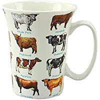 Cow Lovers Multi Cow Breeds Fluted Fine China Mug in a Gift Box by The Leonardo Collection