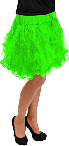 Petticoat 50cm Grösse S - XXXL 12 Farben Unterrock Skirt Vintage Karneval (Neon Grün)