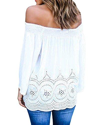 Minetom Femmes Mode Shirt Sexy épaules Nu Hauts Tops Chemise Lâche Manches Longues Shirt Blanc