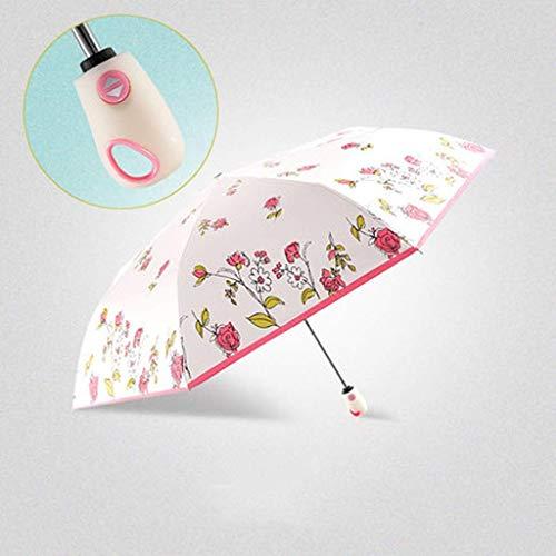 MDD Outdoor-Reise-Regenschirm Mode Blumenmuster Automatische Falten Sanzhe Sunny Sonnenschutz Sun Uv Sonnenschutz Frauen, Sonnenschirm mit doppeltem Verwendungszweck,A