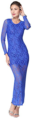 Jeansian Femmes Manches Longues Robe Fashion Sexy Lady Cocktail Party Lace Dress WHS068 blue