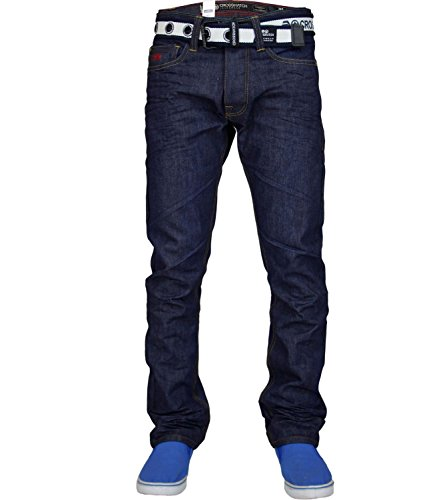 Mens Hachurer Regular Straight Leg coton marqué de Jeans GAMITTO- Dark Wash