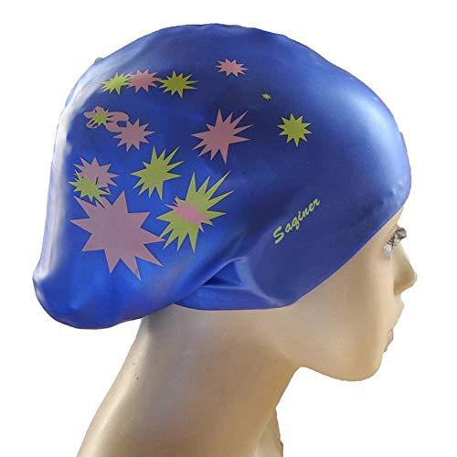 LILITRADE Digital Art Silikon-Badekappe, Badekappe für langes Haar Wasserdicht Halten Sie das Haar und die Ohren trocken. Badekappen für Schwimmer mit langem, dickem oder lockigem Haar