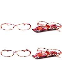 VEVESMUNDO Gafas de Lectura Mujer Hombre Compactas Portatiles Flores Presbicia Anteojos Para Leer con Colores Bolsillo