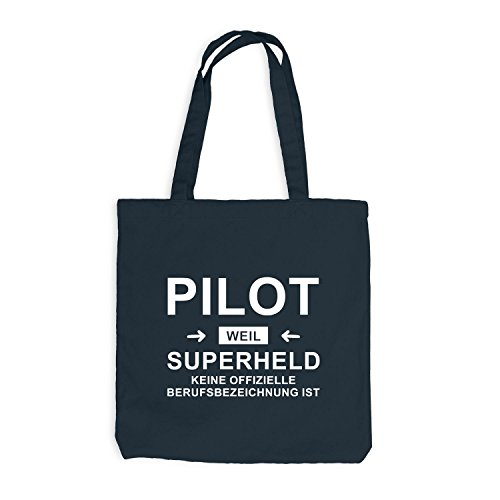 Jutebeutel - Pilot Superheld - Hero Beruf Dunkelgrau