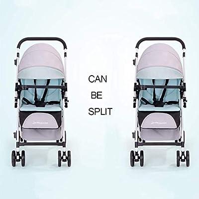 WMDXTM Cochecito Doble, Gemelo tándem Cochecito de bebé con Respaldo Ajustable, reposapiés, Diseño Plegable for facilitar su Transporte