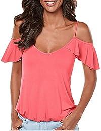 Mujer Camisetas Verano Elegante Moda Relaxed Informales Cómodo Túnica Blusas Unicolor Manga Corta Sin Tirantes Espalda