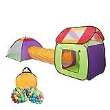 HB club Pop Up 3-Teiliges Kinderspielzelt Spielhaus mit 200 Bälle Tasche Kinder Spielzelt mit Tunnel Bällebad für Junge Mädchen Drinnen und Draußen