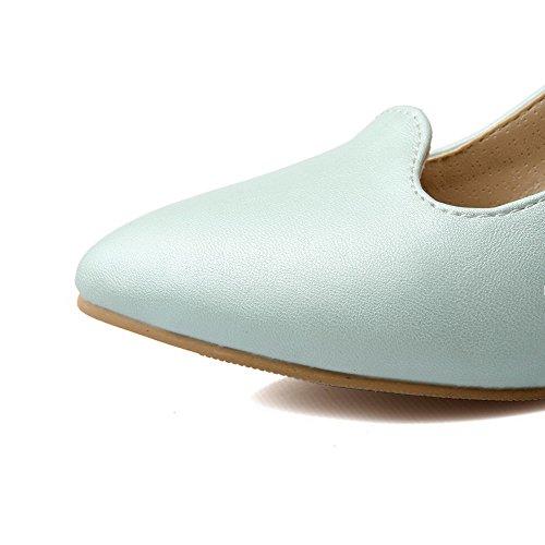 VogueZone009 Femme Pu Cuir à Talon Correct Pointu Couleur Unie Boucle Chaussures Légeres Bleu