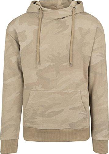 Urban Classics Herren Kapuzenpullover High Neck Camo Hoody, Mehrfarbig (Sand Camo 867), X-Large (Sand-military T-shirt)