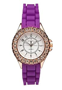 Addison Ross Unisex Quartz Watch with White Dial Analogue Display and Purple Silicone Strap WA0091