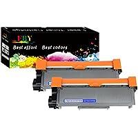 EBY Paquete de 2 cartuchos de tóner compatibles para Brother TN2320 TN-2320 TN2310 TN-2310 de alto rendimiento (negro) Funciona con HL-L2320D HL-L2380DW HL-L2340DW MFC-L2700DW MFC-L2720DW MFC-L2740DW MFC-L2707DW
