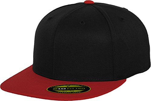 Flex fit Bonnet pour Adulte Haute Fitted 2 Tone - 210 L/XL Multicolore - Noir/Rouge
