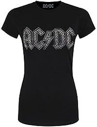 AC/DC Diamante Logo Skinny T Shirt (Black)