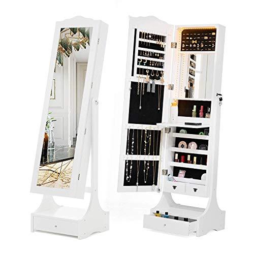 mecor Schmuckschrank Standspiegel Spiegelschrank Schmuckregal mit LED Beleuchtung abschließbar einstellbar Schmuckkasten in Weiß