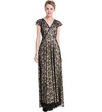 96b870117a1d9 KAXIDY Donna Vestito Nero Lungo Pizzo Vestito da Sera Abito Elegante (Small)