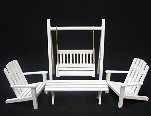 Möbel Schaukelstuhl (Gartenmöbel Set 4 Teile Schaukel Stuhl Tisch Puppenhaus Möbel Miniatur 1:12)