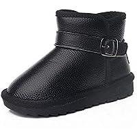 zj Botas de Nieve para Niños Calzado de Invierno para Niños Botas de Nieve para Niños de Cuero de Estado Bajo Niños Y Niñas Salvajes de Color Sólido Botas de Algodón Cálido,Negro,33