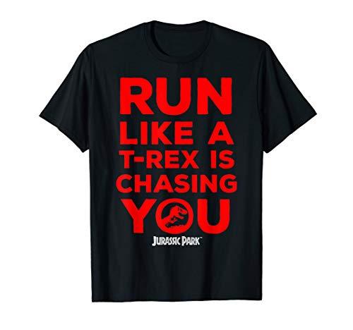 Jurassic Park Red Text T-Rex Chasing You T-Shirt
