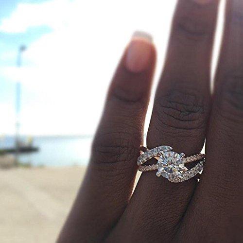 (Frauen Mädchen 2018Fashion Hochzeit Verlobungsring Braut Ringe Mingfa Diamant weiß Band Ringe Statement Schmuck, Legierung, Rose Gold, 9)