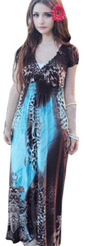 QIYUN.Z -Ausschnitt Hohe Taill Boho Maxi Dehnbar Lange Blumenstrandkleid Damen Sommer Floralem Tunika Maxi Boho Kleid 06 blau