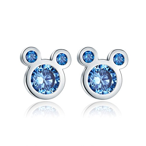 Shysnow Silber Maus Ohrstecker mit Blauen Zirkonias, Abschluss Geschenk für Mädchen Damen (Blau Zirkonia Ohrstecker)