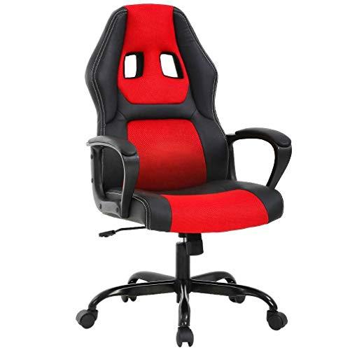 T-LoVendo Silla Gaming Oficina Racing Escritorio Videojuegos Sillon Gamer Despacho, Negra y Roja, Rojo, Universal
