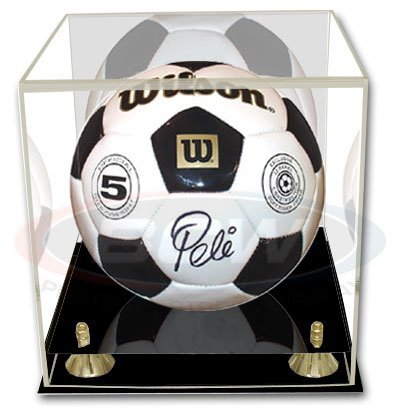 BCW Deluxe Soccer oro Pallavolo Ball Display Case – WITH Mirror – Sport Memorabilia Holder – Collecting Supplies by BCW
